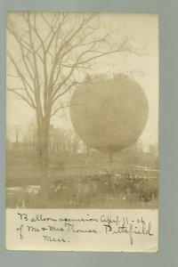 Pittsfield MASSACHUSETTS RP 1906 BALLOON ASCENSION Mr. & Mrs. Thomas PILOTS