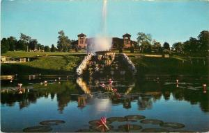 St Louis MO~Forest Park~World's Fair Pavilion~Fountain Spray~Lily Pads~1960s