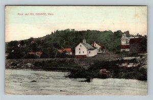 Orange MA, River and Town Hill, Vintage c1910 Massachusetts Postcard