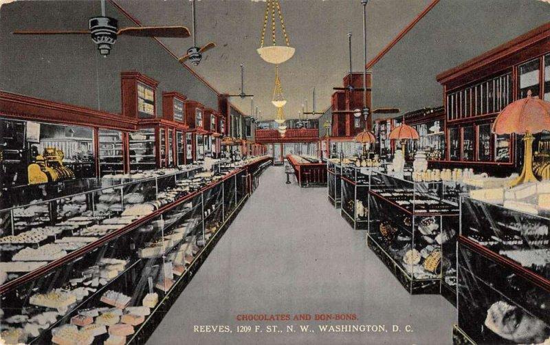 Washington DC Reeves Chocolates and Bonbons Store Interior Postcard AA38307