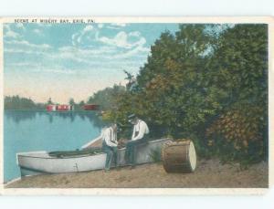 W-Border BOAT ON SHORELINE OF MISERY BAY Erie Pennsylvania PA E9511