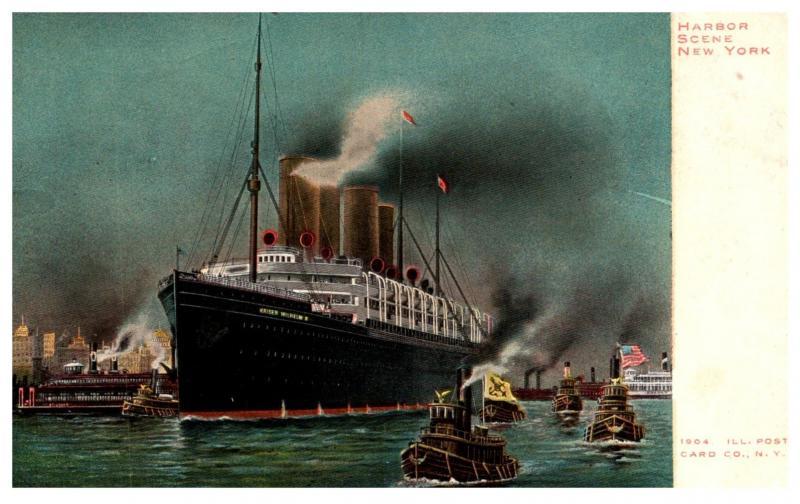 S.S. Kaiser Willheilm II , Norddeutscher lloyd Line , leaving New York Harbor