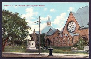 Church & Soldiers Monument Newport RI unused c1910's