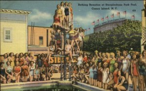 Coney Island Bathing Beauties Steeplechase Park Pool Linen Postcard