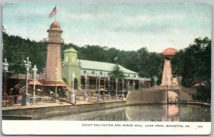 SCRANTON PA LUNA PARK SHOOT THE CHUTES & DANCE HALL 1908 ANTIQUE POSTCARD
