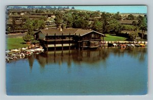 Aerial Lake San Marcos Frolander's Dining Advertising Chrome California Postcard