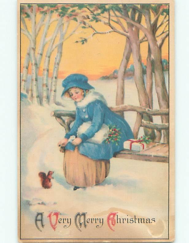 Pre-Linen christmas CUTE GIRL ON BENCH FEEDS SQUIRREL W7265