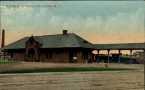 D.&H.R.R. Station, Glens Falls, New York, NY, USA Railroad Train Depot Postca...