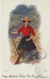 Woman With Gun Sitting On Rock ~ Cowgirl Western Theme J.Tully c1907 Postcard