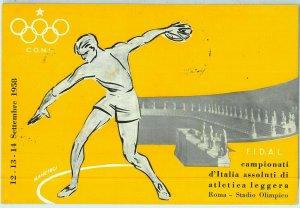 Lib7471 - CARTOLINA d'Epoca Illustrata - CAMPIONATI ATLETICA Roma 1958 MANCIOLI