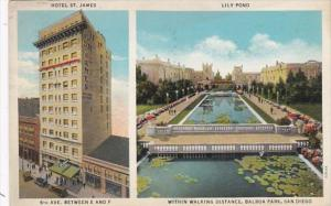 California San Diego Hotel St James and Lily Pond In Balboa Park 1936 Curteich