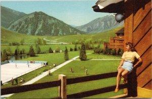 Sun Valley ID Idaho Outdoor Skating Union Pacific Railroad Linen Postcard G32