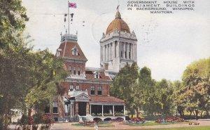 WINNIPEG, Manitoba, Canada, PU-1933; Government House With Parliament Buildin...