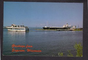 WI Greetings From Superior Wisconsin Postcard Cruise Ship SS Meteor