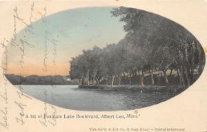 Albert Lea Minnesota~Fountain Lake Boulevard along Lake~House in Distance~1908