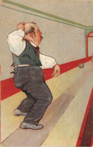 Cartoon Old Man Bowling Greeting Antique Postcard K59966