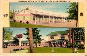 South Carolina Florence Breezewood Motel and Coffee Shop 1958