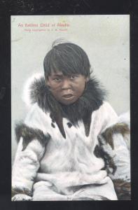 AN ESKIMO CHOLD OF ALASKA ANTIQUE VINTAGE POSTCARD CUTE GIRL
