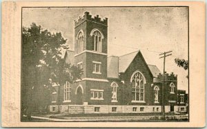 1908 McPherson, Kansas Postcard First Methodist Church Building / Street View