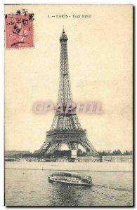 Old Postcard Paris Eiffel Tower La Peniche