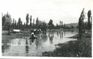 Xochimilco D.F. Mexico Boats Stream Vintage Real Photo RPPC Postcard D2