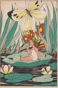 Butterfly & Fairy Child on Waterlilly pad , 1944 ; AS LINKS