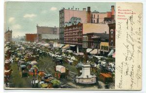 Haymarket West Randolph Street Market Chicago Illinois 1907 postcard