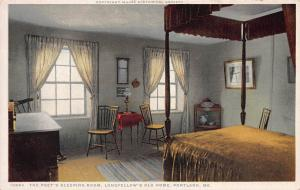 Sleeping Room, Longfellow's Old Home, Portland, Maine, early postcard, unused