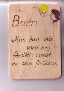 Thick Wooden Card, Burnt Words, Hand Painted Children, Sweden