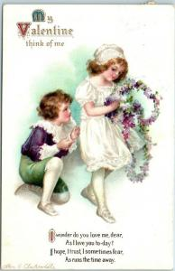 Artist-Signed CLAPSADDLE Postcard Valentine's Day Think of Me 1916 Cancel