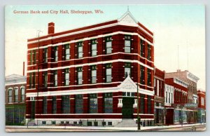 Sheboygan Wisconsin~German Bank & City Hall Close Up~Barber Shop Pole~1912