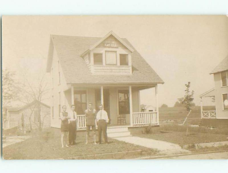 Pre-1918 rppc GAY INTEREST - 2 MEN IN SWIM SUITS OUTIDE KAY-ESS HOUSE o1827