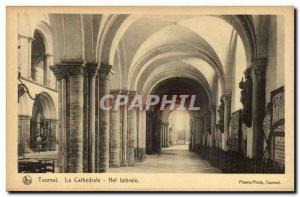Postcard Ancienne Belgique Tournai cathedral nave lateral