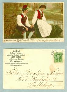 Sweden. Young Couple. Postal Used 1904. Writing On Edge Front.