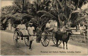 PC CPA SRI LANKA, CEYLON, RICKSHAW AND BULLOCK HACKERY, Postcard (b12810)