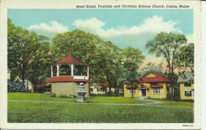 Calais, Maine, Band Stand, Fountain and Christian Science Church