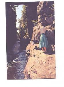 Woman in Typical 50's Skirt at Pokiok Falls, New Brunswick, Saint Johns News,...