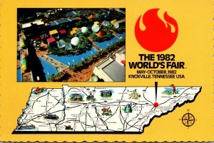 Tennessee Knoxville 1982 World's Fair Map and Aerial View
