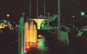 Night View, Colorful Water Fountains, Place L'Esplanade, Joliette, Quebec, Ca...