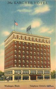 1940s Karcher Hotel roadside Waukegan Illinois linen MWM postcard 8275