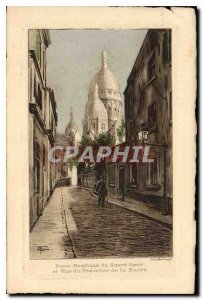 Old Postcard Paris La Basilique du Sacre Coeur and Rue du Chevalier de la Barre