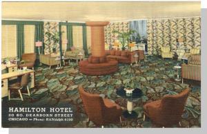 Chicago,Illinois/IL Postcard,Hamilton Hotel/South Room Lobby