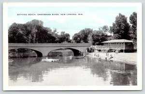 New London Wisconsin~Embarrass River~Bathing Beach & Bath House~Dive Float~1920s
