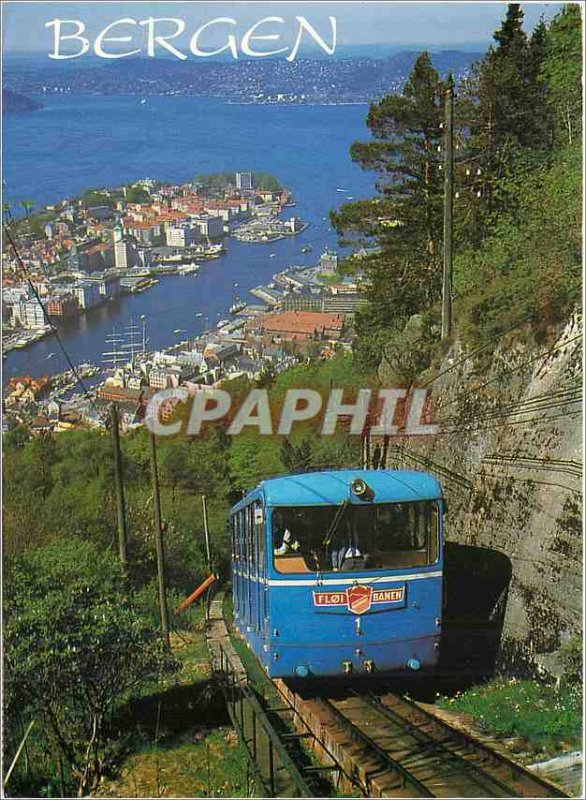 Postcard Modern Bergen Norway View from the Flayen