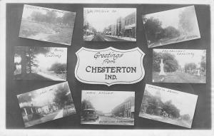 Chesterton IN~Valparaiso Main Streets~Interurban Trolley Line~Cemetery~1915 RPPC