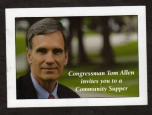 ME Congressman Tom Allen Senate Ad Postcard MAINE PC