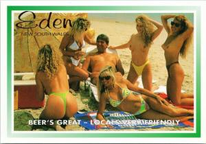 Topless Women Beach Scene Beauty Eden New South Wales Australia Postcard D59