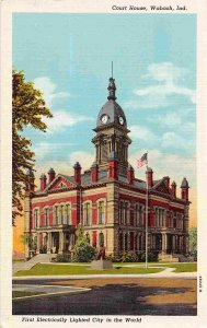 Court House Wabash Indiana linen postcard