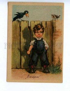 201828 GERMANY Charming boy & crow Vintage postcard
