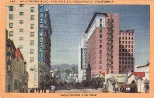 P1842 vintage unused pc hollywood & vine street scene hollywood calif